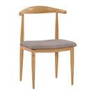 【森可家居】貝德里牛角布餐椅 7ZX886-3 木紋質感 無印風 北歐風 麻布 鐵腳貼皮