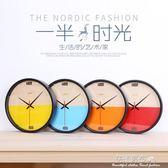 北歐客廳家用數字鐘錶 現代簡約掛牆鐘 靜音機芯時鐘·花漾美衣