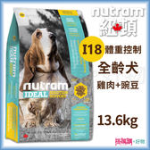 Nutram紐頓『I18體重控制全齡犬(雞肉+豌豆)』13.6KG【搭嘴購】