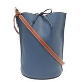 LOEWE 羅威 藍色牛皮棕色背帶肩背水桶包 Gate Bucket Bag【BRAND OFF】