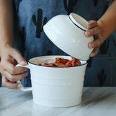 韓式湯碗簡約面碗創意泡面杯帶把手帶蓋飯碗家用陶瓷餐具套裝【卡米優品】