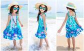 夏季女童波西米亞沙灘吊帶兒童公主連衣裙XH1137『伊人雅舍』