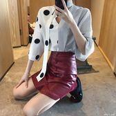 繫帶大小波點拼接寬袖襯衣 高腰排扣PU裙A字短裙時髦套裝潮分開拍 「潔思米」