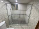 【麗室衛浴】B-007 簡框一字二門單邊活動式拉門 清玻白色 140~160*190CM