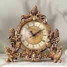 歐式復古座鐘創意客廳樹脂臺鐘擺件 臥室書房靜音時鐘裝飾工藝品WD晴天時尚
