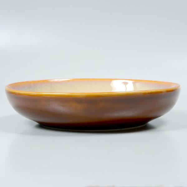 【Luzerne】陸升瓷器 Rustic 23cm 深圓盤882ml-白褐色 /RT6102023