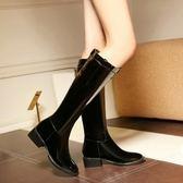 真皮長靴-帥氣英倫風時尚漆皮粗跟女靴子73iv11【時尚巴黎】