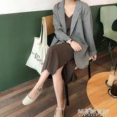 春秋女裝韓版復古寬鬆百搭薄款西裝外套長袖開衫一粒扣上衣潮 解憂雜貨鋪