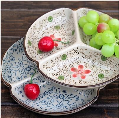日式青花彩花瓷餐具陶瓷三格水果飯碗盤子碟子