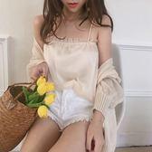 復古韓版chic風夏季度假風壓褶木耳邊百搭打底小吊帶雪紡背心上衣『韓女王』
