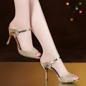 新款夏季魚嘴涼鞋女韓式細跟女式高跟涼鞋亮片金色時尚鞋女 - 古梵希