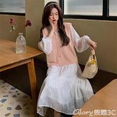 蕾絲長裙 秋冬大碼法式少女甜美減齡內搭白色蕾絲長裙胖mm顯瘦馬甲時髦  榮耀 上新