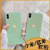 薄荷綠愛心紅米Note7手機殼小米9T保護套 小米9軟殼  小米A1 A2藍光殼 小米8 lite透明殼 紅米7包邊亮面