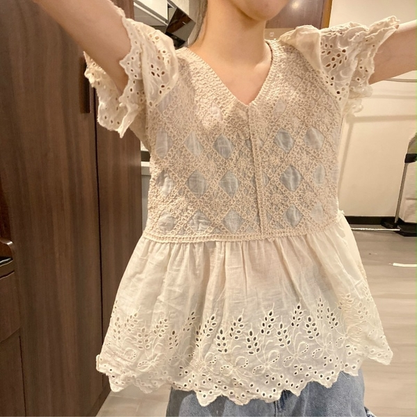 (免運)DE shop - 泡泡短袖蕾絲襯衫 - T-3398