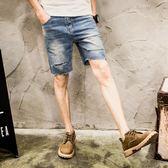 潮流休閒褲子 牛仔短褲男 牛仔短褲大碼直筒寬鬆水洗破洞中褲 5分馬褲韓版5五分褲 wx1735
