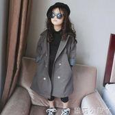 女童外套中長款韓版新款秋季兒童翻領雙排扣時尚風衣4633 蘿莉小腳ㄚ