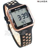 JAGA 捷卡 休閒多功能超大液晶運動電子錶 游泳用 女錶 男錶 學生錶 M1179C-AL(黑金)