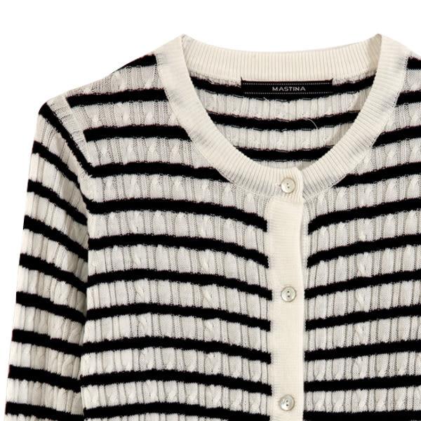 【MASTINA】條紋針織上衣-白 0604
