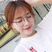 防輻射眼鏡女韓版潮復古圓框鏡架平光鏡男平面藍光手機護眼睛 草莓妞妞