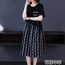 大碼洋裝含棉大碼格子連身裙夏季新款韓版女裝胖mm洋氣寬鬆顯瘦裙子 快速出貨