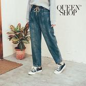 Queen Shop【04011366】牛仔刷色鬆緊老爺褲 S/M/L*現+預*
