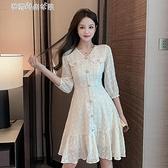 洋裝2020年新款女秋季韓版法式小眾氣質性感收腰顯瘦中長款裙子【快速出貨】