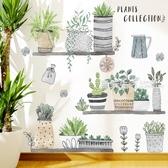 牆紙 牆貼文藝盆栽客廳臥室宿舍玄關自粘貼紙小清新植物花卉牆壁裝飾畫·快速出貨YTL
