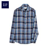Gap男裝 格紋休閒長袖襯衫 497206-淺藍