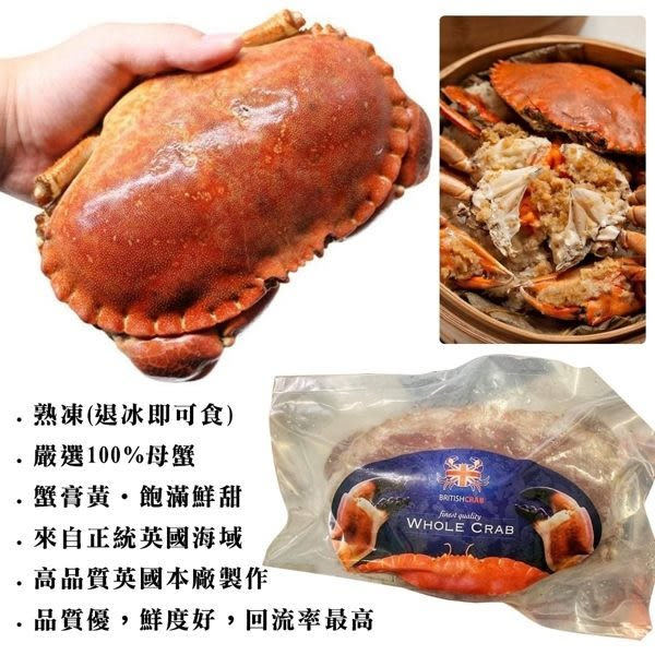 【WANG】英國頂級爆漿霸王母蟹x1隻(400g~600g±10%/隻)