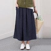 正韓 亞麻條文鬆緊褲裙 (9253) 預購