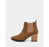 真皮短靴-R&BB牛皮*西部時尚麂皮雀兒喜木紋粗跟靴-棕色