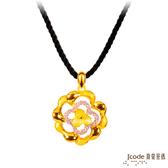 J'code真愛密碼 晶瑩薔薇黃金/純銀墜子 送項鍊