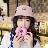 韓國春秋綁帶漁夫帽女士純色遮陽盆帽街頭潮長帶子穿繩大檐帽 交換禮物