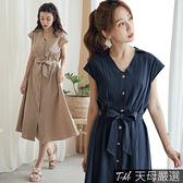 【天母嚴選】排釦襯衫領綁帶連身洋裝