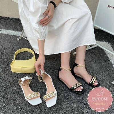 平底涼鞋 鎖鏈一字裹腳踝 平底鞋*KWOOMI-A42