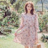 東京著衣【YOCO】花漾女孩碎花V領綁帶荷葉開衩袖洋裝-S.M.L(180371)