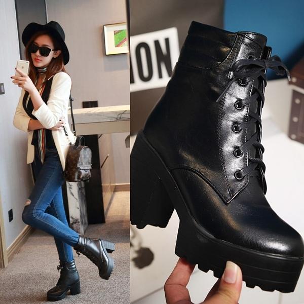 大尺碼女鞋  時尚帥氣防水台高跟短靴~2色