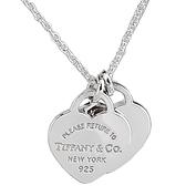 【奢華時尚】Tiffany 心心相映迷你吊牌墜飾925純銀項鍊
