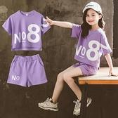 女童運動套裝 童裝女童短褲套裝夏裝2021新款中大童時髦運動休閑兒童兩件套 快速出貨