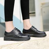 女牛津鞋 韓版女鞋子 新款平底單鞋系帶復古女鞋學院英倫風圓頭大碼女鞋小皮鞋《小師妹》sm3279