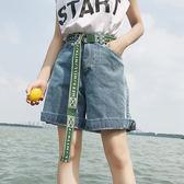 原宿風bf寬鬆百搭工裝高腰闊腿短褲女學生韓版顯瘦五分牛仔褲    琉璃美衣