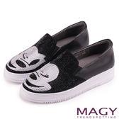 MAGY 輕甜休閒時尚 趣味卡通鑽飾牛皮厚底休閒鞋-黑色
