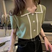 針織衫 牛油果綠冰絲針織衫女夏季2020新款寬鬆短袖上衣polo衫抹茶綠t恤「草莓妞妞」