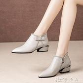 新款春秋真皮短靴馬丁靴女底跟尖頭英倫風單靴平底粗跟女鞋 【全館免運】