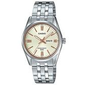 【CASIO】溫婉不鏽鋼星期日期顯示指針錶-金面X玫瑰金刻度(LTP-1335D-9A)