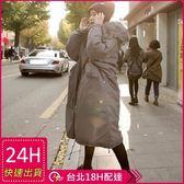 免運★梨卡 - 情侶可穿韓版超長版抽繩超大毛領軍裝外套大衣奢華貉子毛領連帽軍綠色A982
