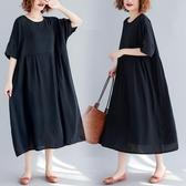 洋裝 連身裙寬鬆胖mm黑色雪紡大擺裙中大尺碼棉麻高腰蝙蝠短袖連衣裙