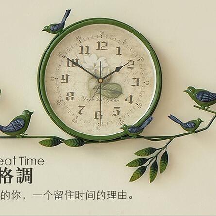限定款挂钟田園鐘表小鳥掛鐘創意靜音鐘表客廳臥室時鐘現代簡約裝飾掛表