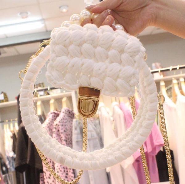 DIY包包 編織包 抖音亞克力透明包包布條線手工編織鉤針毛線diy材料包