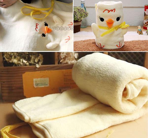 【BlueCat】日本Chick超柔點點古錐黃雞可捲曲收納毯 小毛毯 懶人毯